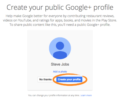 create google plus account